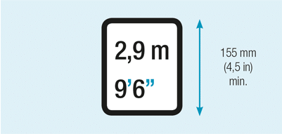 Height marks for containers higher than 2,6 m (8 ft 6 in)
