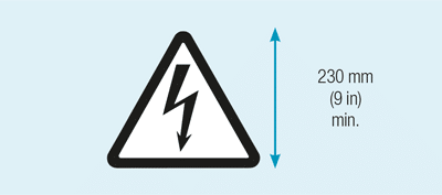 Sign warning of overhead electrical danger